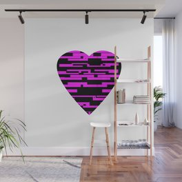 Glitching Hearts — Black and Pink Wall Mural