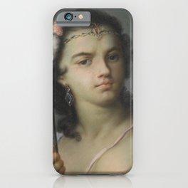 Bust length portrait of a woman, fine antique art iPhone Case