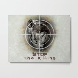 Black Rhino Stop The Killing Illustration Metal Print