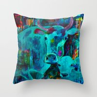 cows Throw Pillows featuring Cows by Silke Powers