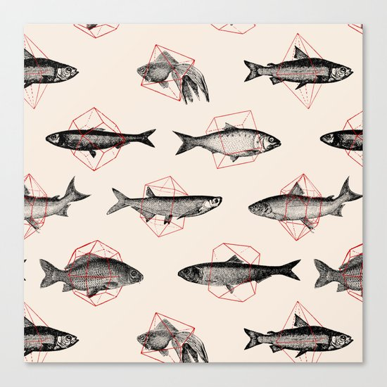 Fishes In Geometrics (Red) Canvas Print