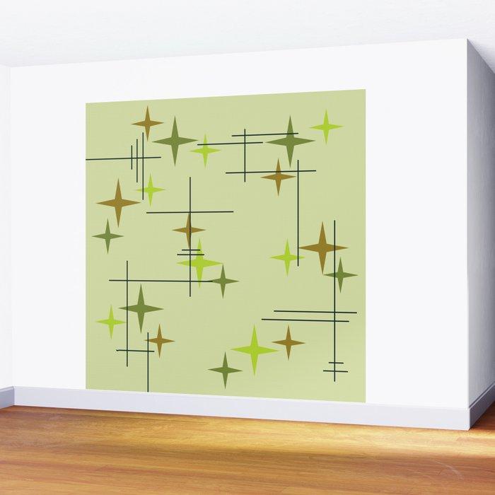 Mid Century Modern Stars Chartreuse Wall Mural
