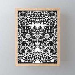 Black and white - original art - Swedish Hummingbird folklore - folk art posters Framed Mini Art Print