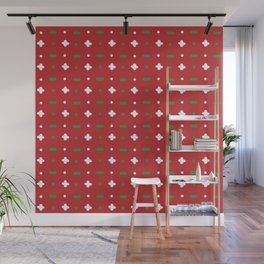 Christmas vector green and white horizontal and vertical stitches aligned on red background seamless Wall Mural