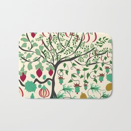 Fairy seamless pattern garden with plants, tree and flowers Bath Mat
