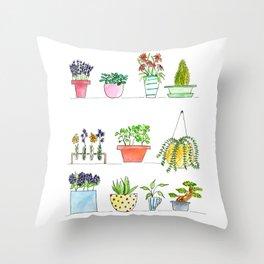Window Sill Garden Throw Pillow
