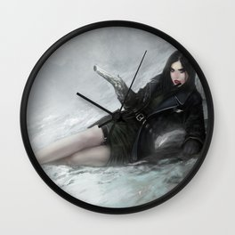 Gunslinger - Badass girl with gun in the snow Wall Clock