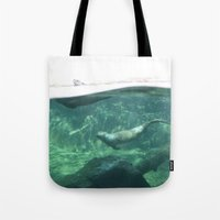 otters Tote Bags featuring Swimming Otters by Pokemon-Chick-1