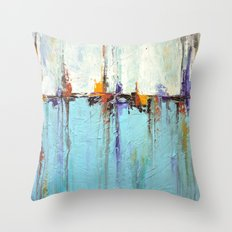 """Abstract White and Blue Painting – Textured Art – """"Sailing""""  Throw Pillow"""