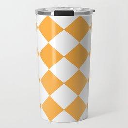Large Diamonds - White and Pastel Orange Travel Mug