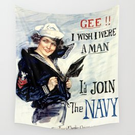 Vintage U.S. Navy Recruitment Poster Wall Tapestry