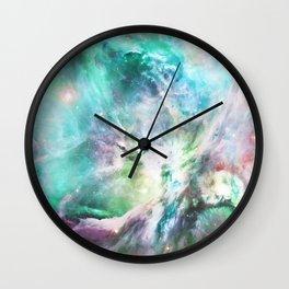 Abstract teal pink cosmic nebula space galaxy Wall Clock