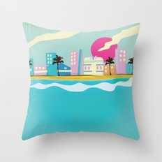 Retro 1980s Miami cartoon seafront Throw Pillow