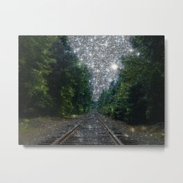 Train Tracks Sparkling Dream : Next Stop Anywhere Metal Print