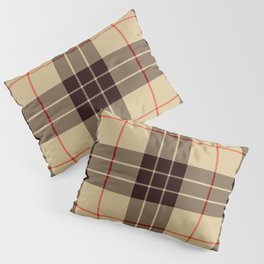Tan Tartan with Black and Red Stripes Pillow Sham