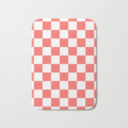 Checkered - White and Pastel Red Bath Mat