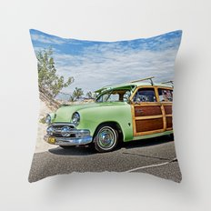 Woodie on the Beach Throw Pillow