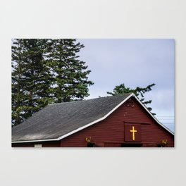 Cross and Barn Canvas Print