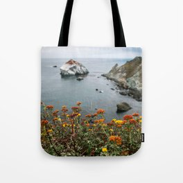 Big Sur Coast Wall Art | California Highway 1 Nature Flowers Ocean Beach Coastal Travel Photography Print Tote Bag