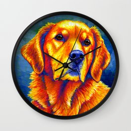 Colorful Golden Retriever Dog Portrait Wall Clock