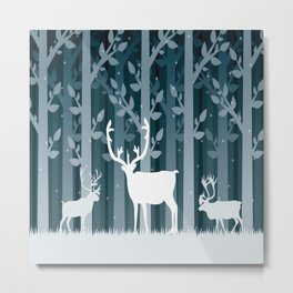 Snow Caribou Metal Print