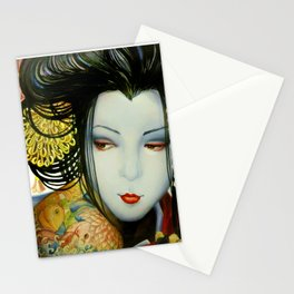 Little fish tattooed geisha girl Stationery Cards