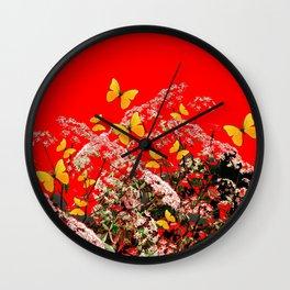 RED GARDEN ART OF YELLOW BUTTERFLIES & LACEY FLOWERS Wall Clock