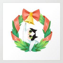 The Christmas Kitty Art Print
