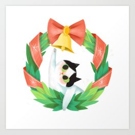 The Christmas Kitty Art Print