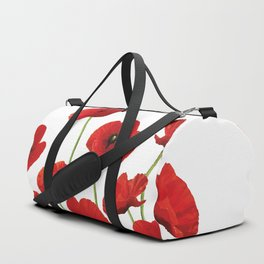 Poppies Field white background Duffle Bag