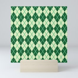 Green Argyle Pattern Mini Art Print