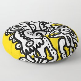 Black and White Cool Monsters Graffiti on Yellow Background Floor Pillow