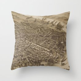 Vintage Pictorial Map of Chattanooga (1886) Throw Pillow