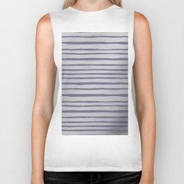 Violet gray silver watercolor brushstrokes stripes Biker Tank