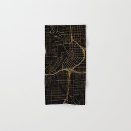 Black and gold Atlanta map Hand & Bath Towel