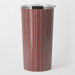Grey and terracotta stripes Travel Mug