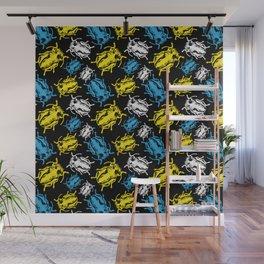 Beetles on Black Background Pattern Wall Mural