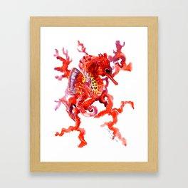 Seahorse red sea world art, corals, Coral red Scarlet Artwork Framed Art Print