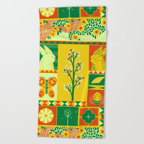 Spring Square Beach Towel