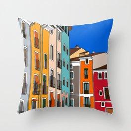 Casas de colores Cuenca. Throw Pillow