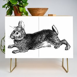 The Rabbit and Roses   Black and White Credenza