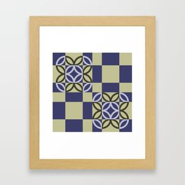 Checkered Circles Pattern Framed Art Print