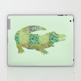 Alligator Crocodile Vintage Floral Pattern Green Teal Mint Blue Laptop & iPad Skin