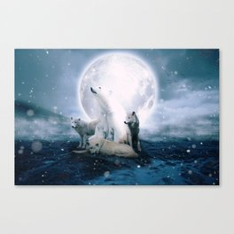 Wolves and the polar bear by GEN Z Canvas Print