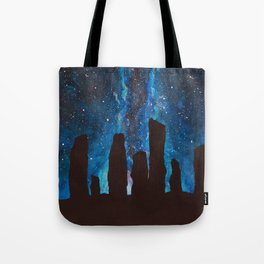 Outlander Craigh Na Dun Standing Stones Watercolor Painting with milky way galaxy Tote Bag