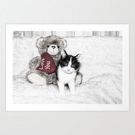 Valentines kitten and teddy Art Print