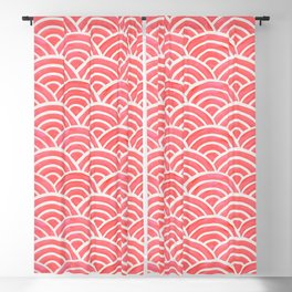 Japanese Seigaiha Wave Pattern – Coral Blackout Curtain