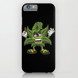Stoned Cannabis Leaf - Weed Smoking Cartoon iPhone Case