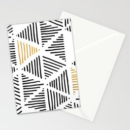 Simple Geometric Zig Zag Pattern - Black Gold White - Mix & Match with Simplicity of life Stationery Cards