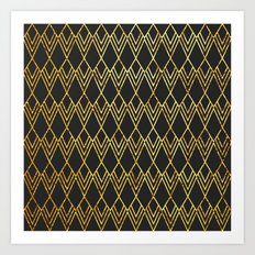 Art Deco Diamond Teardop - Black & Gold Art Print